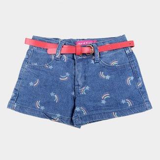 Shorts Jeans Bebê Plural Kids Cinto Estrela Cadente Feminino