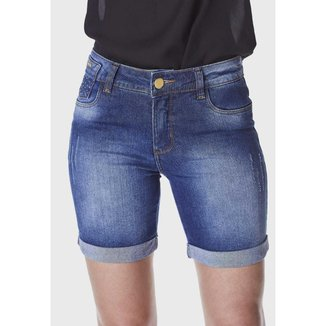 Shorts Jeans HNO Jeans Meia Coxa Barra Virada Azul