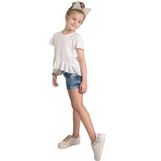 Shorts Jeans Infantil MRX Feminino