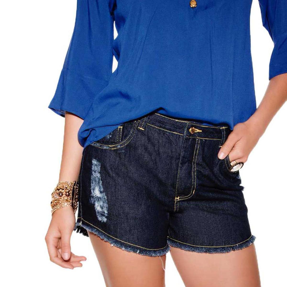 3086be366 Shorts jeans escuro barra desfiada azul compre agora netshoes jpg 544x544  Short jeans barra desfiada