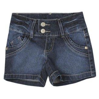 Shorts Juvenil Look Jeans Básico Jeans Feminino