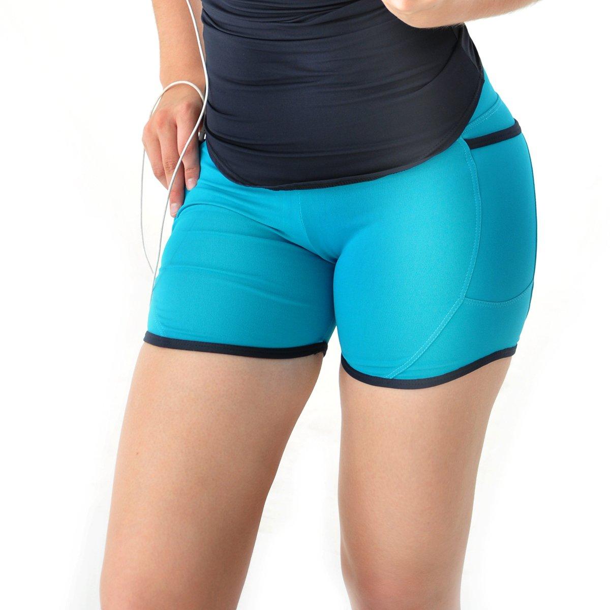 1ff1bba11de5b Shorts Mama Latina Mobile com bolsos - Azul e Preto - Compre Agora ...