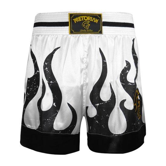 Shorts Pretorian Branco Thai Muay e Muay Preto Flame Shorts dzwBda
