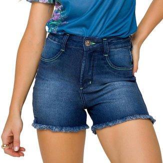 Shorts Onça Preta Pesponto Neon Jeans