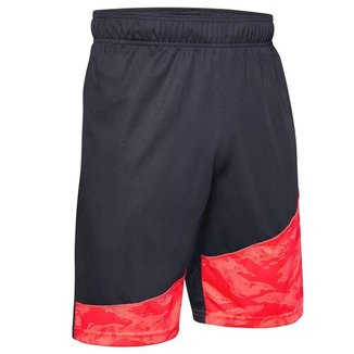 Shorts Under Armour Baseline 10in Preto/Vermelho Masculino
