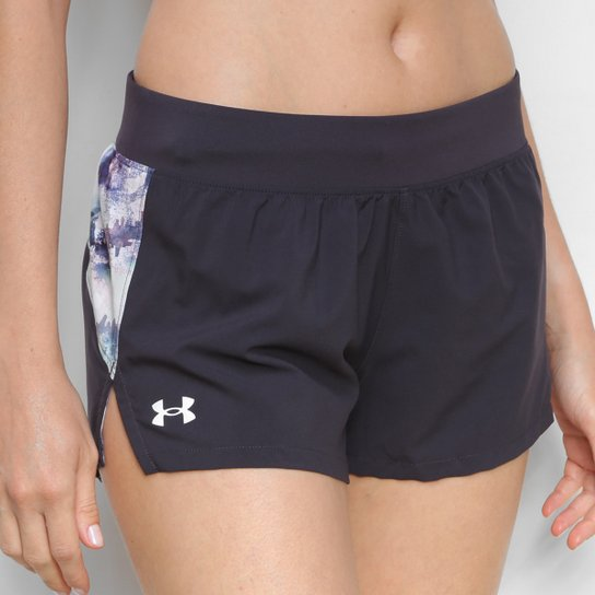 Shorts Under Armour Launch 3'' Print Feminino - Preto+Prata