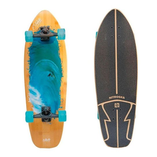 Simulador Surf Longboard NitroSK8 Carlos Burle Tahiti 32x10' - Marrom