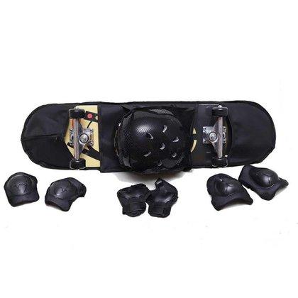 Skate Com Kit de Proteção Unitoys Ref.1042 Preto/