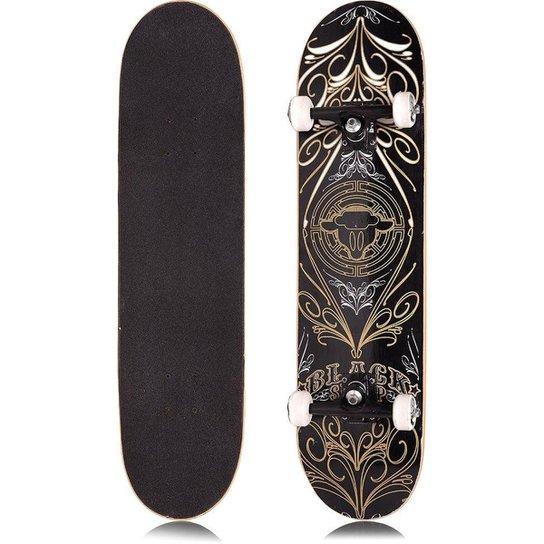 Skate Completo Iniciante Black Sheep - Preto+Bege