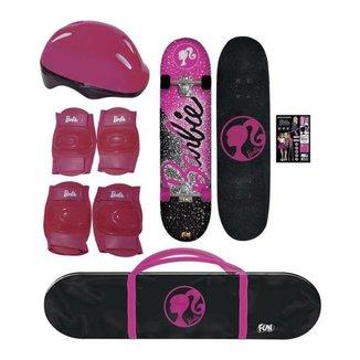 Skate Infantil Barbie com Capacete e Protetores Fun 7619-1