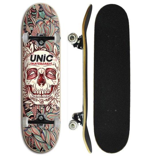 Skate Iniciante Completo Unic Skateboard - Caveira - Preto