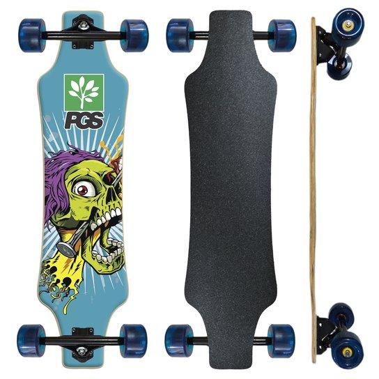 Skate Longboard Fish completo Pgs  Skull Prego 7.9 - Preto