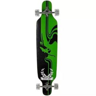 Skate Longboard Profissional Preto/Verde Fenix