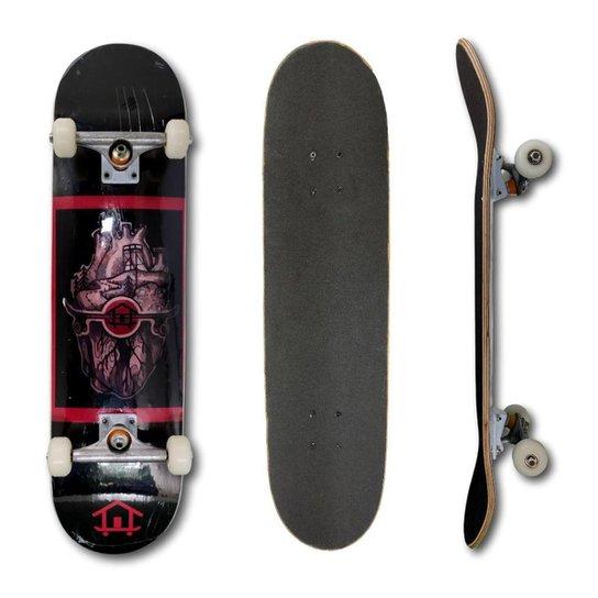 Skate Montado Profissional House Skateboarding Coração Rosa e Guloseimas - Preto