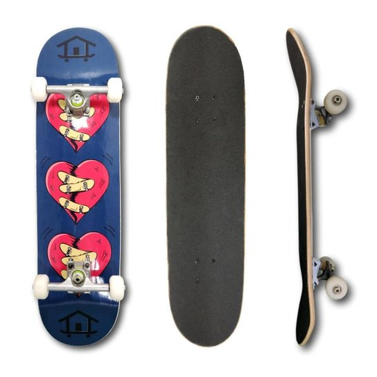 Skate Montado Profissional House Skateboarding Coração Rosa e Guloseimas - Azul