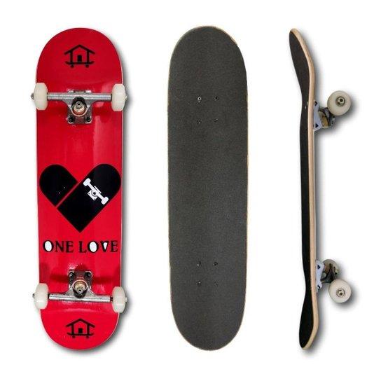 Skate Montado Profissional House Skateboarding Coração Rosa e Guloseimas - Vermelho