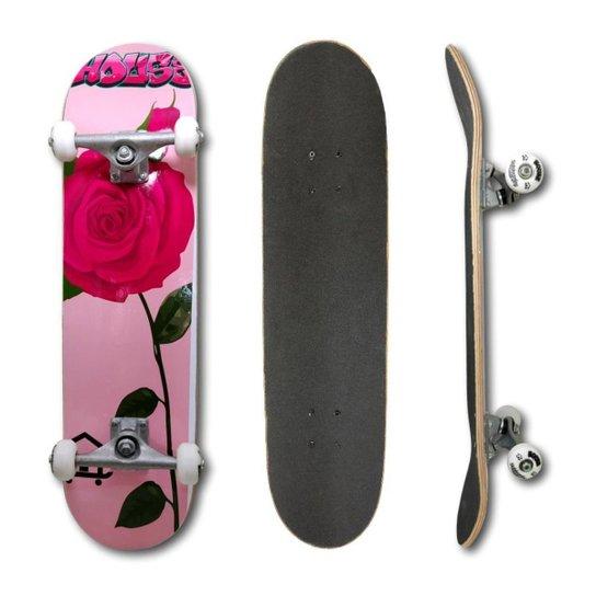 Skate Montado Profissional House Skateboarding Coração Rosa e Guloseimas - Rosa