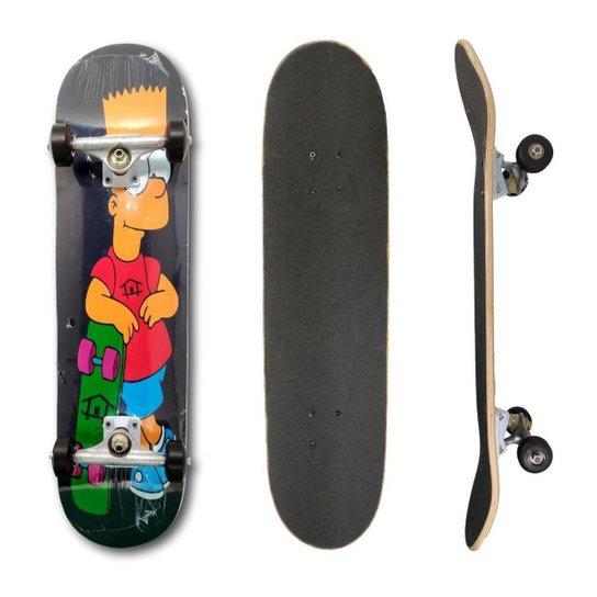 Skate Montado Profissional House Skateboarding Personagens - Preto