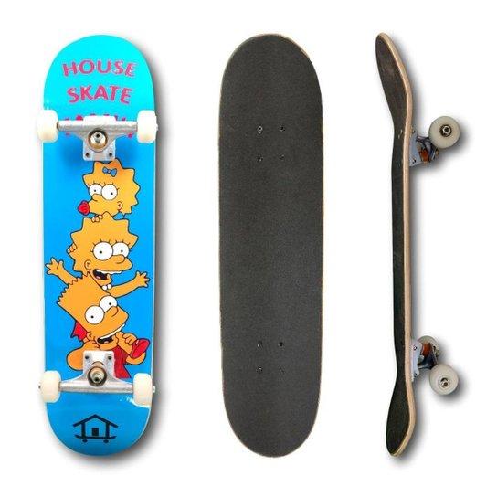 Skate Montado Profissional House Skateboarding Personagens - Azul