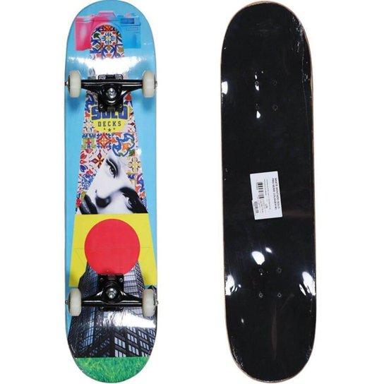 Skate Montado Solo Pro Skate Serie Colagem Unissex - Azul Claro