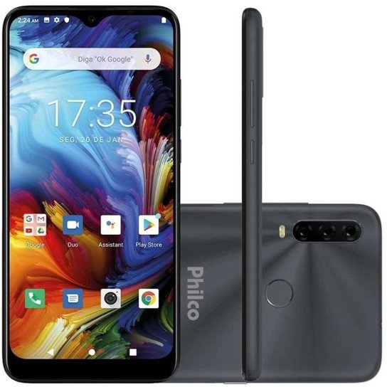 "Smartphone Philco HIT P10 Space Gray 128GB 4G 6,2"" 3 Câmeras - Cinza"