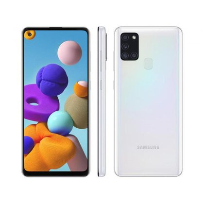 "Smartphone Samsung Galaxy A21s 64GB 4G - 3GB RAM 6,5"" Câm. Quádrupla + Selfie 13MP"