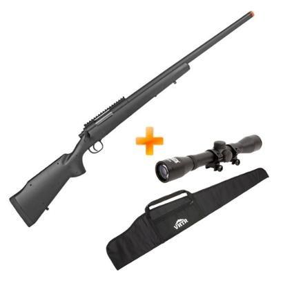 Sniper Airsoft M24 M61 Spring 6.0 mm 420FPS + Luneta 4X32 + Capa - Unissex