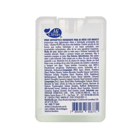 Spray Antisséptico para as Mãos Hi Clean Hidratante Chá Branco 20ml - Branco