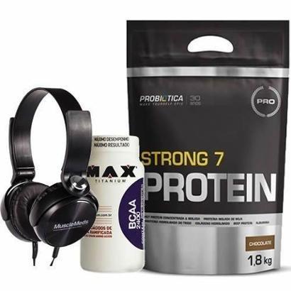 Strong 7 Protein 1800g + BCAA 60 Cápsulas + Fone de Ouvido Preto - MuscleMeds