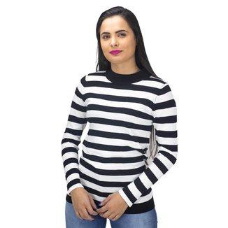 Suéter Listrado Preto e Branco Mosaico Feminino