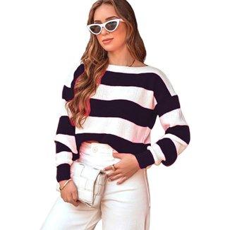 Suéter Tricot Gola Canoa Mania de Sophia Listras Branco