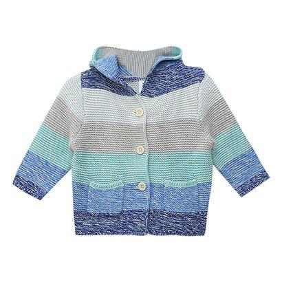 Suéter Tricot Infantil GAP Multicolor para Bebê com Capuz - Masculino