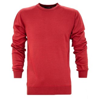 Suéter  Tricot Lã Liso Básico Gola Redonda Casual Masculina