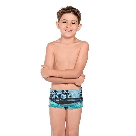 Sunga Infantil Boxer Havaí - Azul+Cinza
