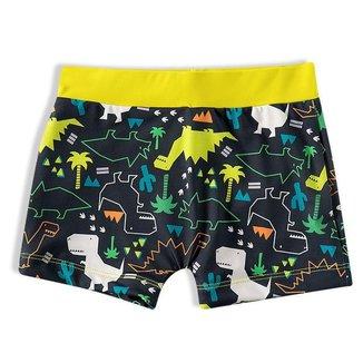 Sunga Shorts Praia Infantil Dinossauro Mescla Amarelo Tip Top - Tamanho 3