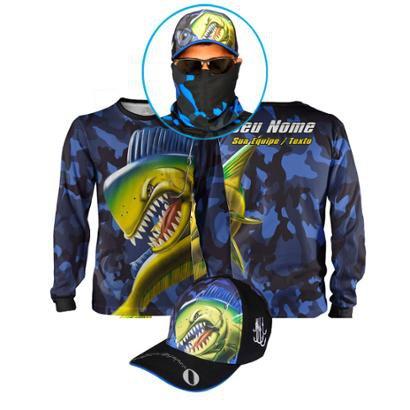 Super Combo Dourado do Mar Camuflado Camisa + Máscara + Boné - Adulto - Masculino