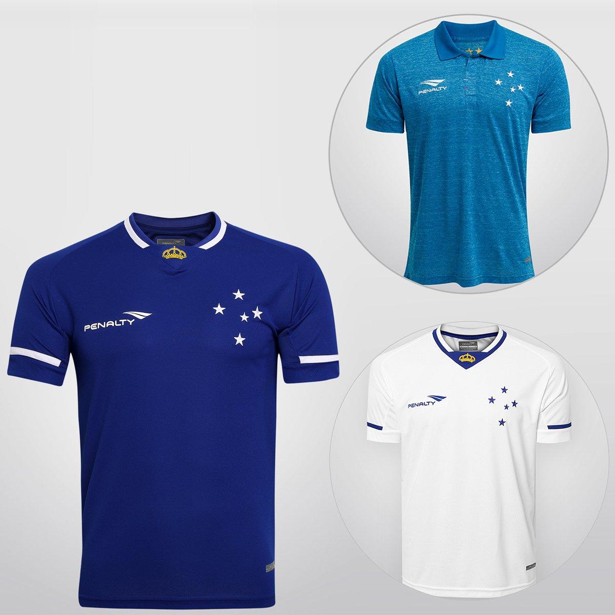 bb029d72e5 Super Kit Penalty Cruzeiro - Camisa I 15 16 s nº + Camisa II 15 16 s nº +  Camisa III 15 16 s nº - Compre Agora