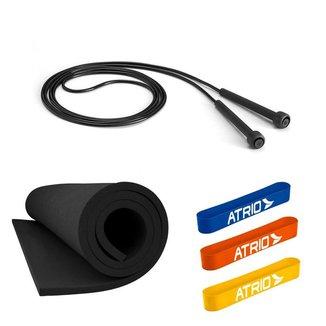 Super Kit Treino Em Casa Promoção Tapete EVA + Corda De Pular + 3 Mini Band