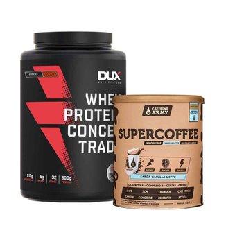 Supercoffee Vanilla 220g e Whey Dux Concentrado Sabor Cookies