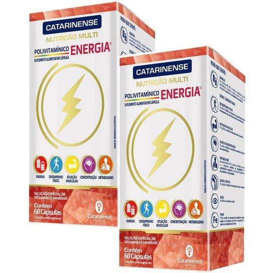 Suplemento Polivitamínico Energia 2x 60cps. Catarinense - Branco+Laranja