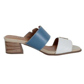 Tamanco Confort Couro Branco/Jeans 39