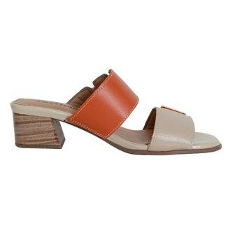 Tamanco Confort Couro Marfim/Tangerina 36