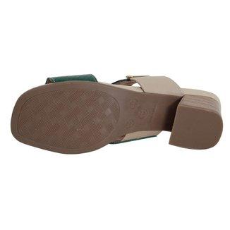 Tamanco Confort Couro Marfim/Verde 40