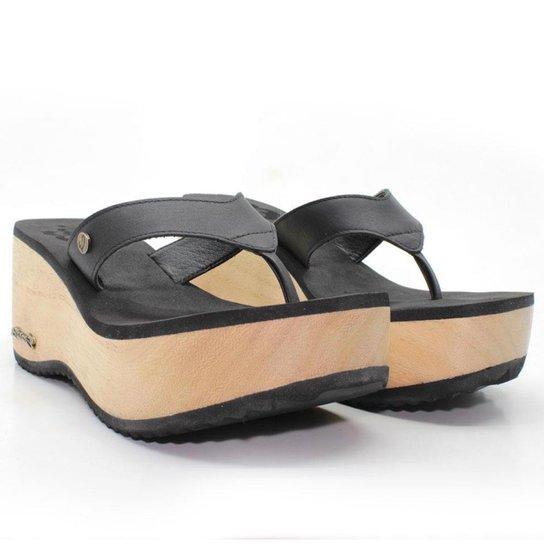 Tamanco Plataforma Feminino Barth Shoes Búzios Couro Solado Madeira - Preto