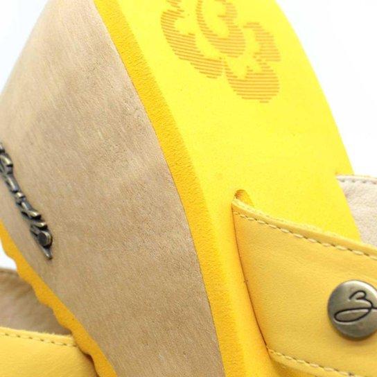 Tamanco Plataforma Feminino Barth Shoes Búzios Couro Solado Madeira - Amarelo