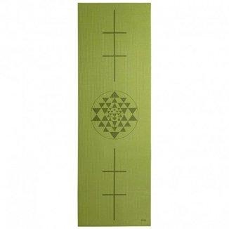 Tapete de yoga pvc eco 4.5mm, estampado Yantra, alinhamento, para ginástica e pilates 183x60cm