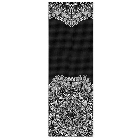 Tapete de Yoga PVC Estampado - Floral - Preto