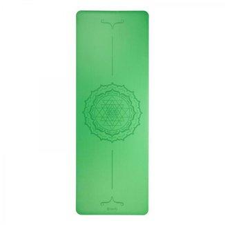 Tapete de Yoga verde estampado yantra, PU Borracha  100%Natural, alta aderência 185 x 60cm 4.0mm