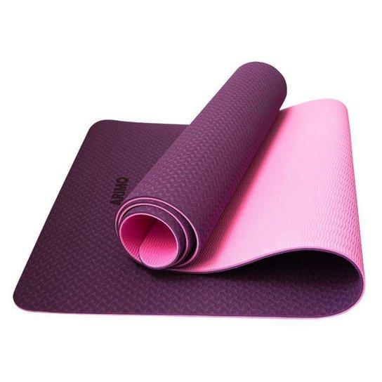 Tapete Yoga Mat Antiderrapante TPE Ecológico Biodegradável Todos Os Tipos de Yoga 181x61cmx6mm Arimo - Roxo