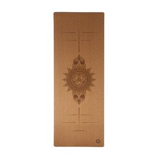 Tapete Yoga Mat em Cortiça Natural Eco Com Alinhamento e Impressão - Flower (1,83mX 61cm X 5mm)